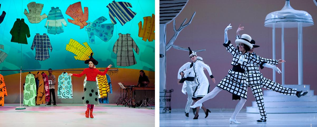 Uit de muziektheatervoorstelling Mannetje Jas en rechts uit het ballet Coppelia.